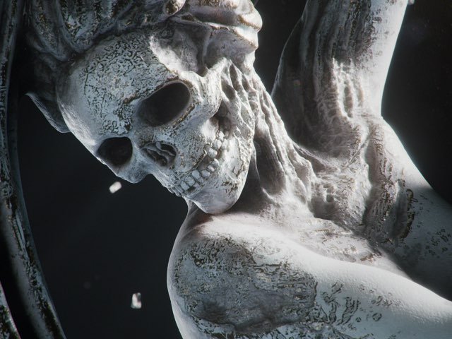 Stone statue of the skull by unreal engine test